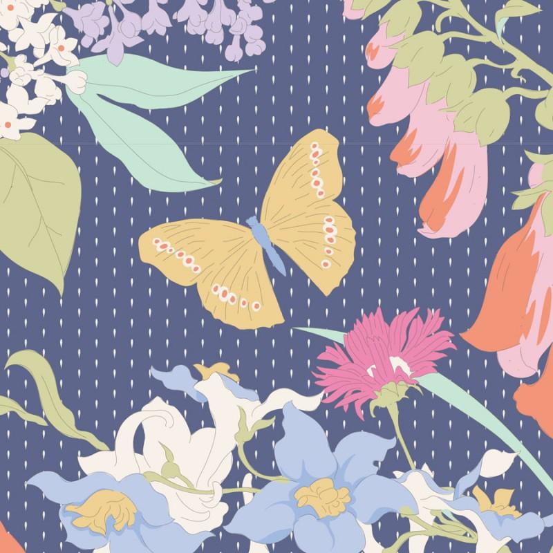 Gardenlife Blue - coupon 50x110cm - tissu Tilda