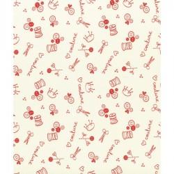 Coupon de tissu I love couture ciseaux ivoire nacré - Frou-frou - 50x50cm