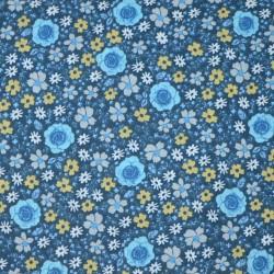 Tissu motif fleuri sur fond bleu - laize 160cm