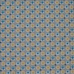 Tissu motif géométrique bleu et jaune sur fond gris - laize 160cm