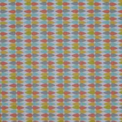 Tissu motif goutte d'eau multicolore sur fond blanc - laize 160cm
