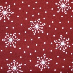 Tissu flanelle flocons blancs sur fond rouge bordeaux - laize 110cm