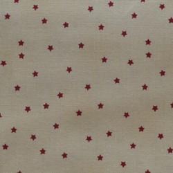 Tissu mini étoiles rouge sur fond crème - laize 110cm