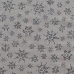 Tissu motif flocons gris argent sur fond blanc - laize 110cm