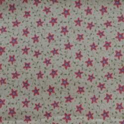 Tissu motif petites fleurs roses sur fond crème - laize 110cm