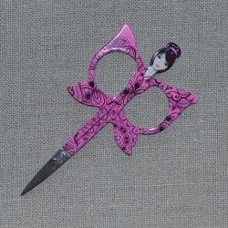 Ciseaux à broder fantaisie - Femme papillon rose fuchsia dentelle noire