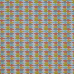 Coupon de tissu motif goutte d'eau multicolore sur fond blanc - 50x55cm