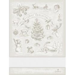 Torchon à broder paysage de Noël - DMC - beige