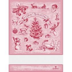 Torchon à broder paysage de Noël - DMC - rouge