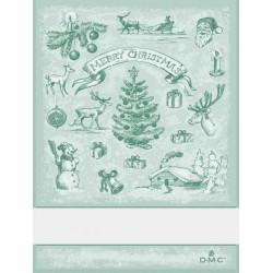 Torchon à broder paysage de Noël - DMC - vert