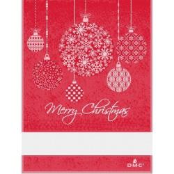 Torchon à broder boules de Noël - DMC - rouge