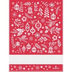 Torchon à broder fantaisie de Noël - DMC - rouge