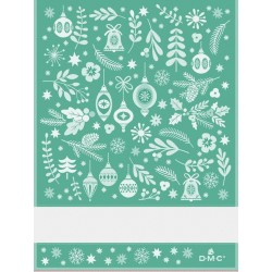 Torchon à broder fantaisie de Noël - DMC - vert