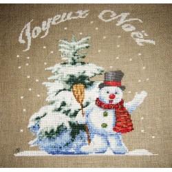 Bonhomme de neige et sapin - Au fil de Martine