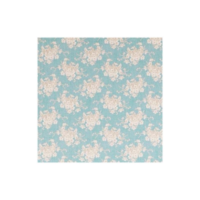 White Flower Teal - coupon 50x55cm - tissu Tilda